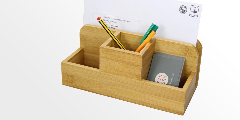 Desk Organiser Stationery Box Pen Holder  Bamboo Office