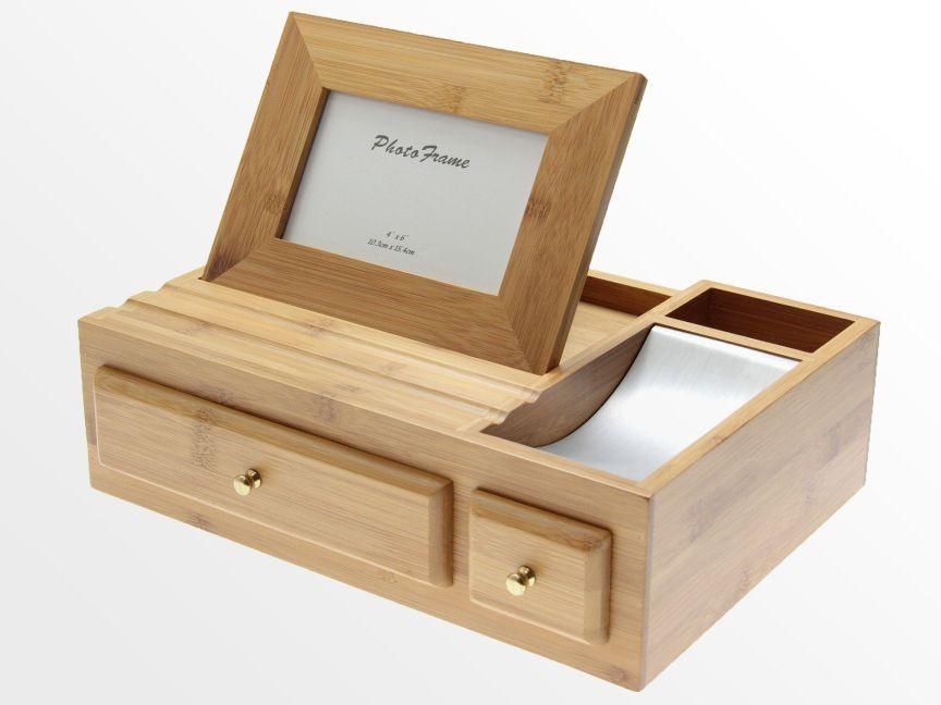 Desk Organiser with Photo Frame  Bamboo Stationary Box