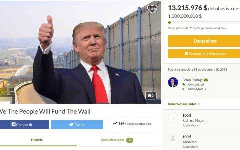Abren un crowdfounding para levantar el muro de Trump y recaudan 13 millones de dólares en solo 4 días