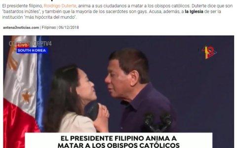 Dato importante: Duterte cree en dios, pero no en el de los católicos