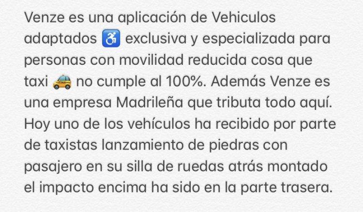 El Langui denuncia el ataque a un VTC especializado en minusválidos que además tributa en España