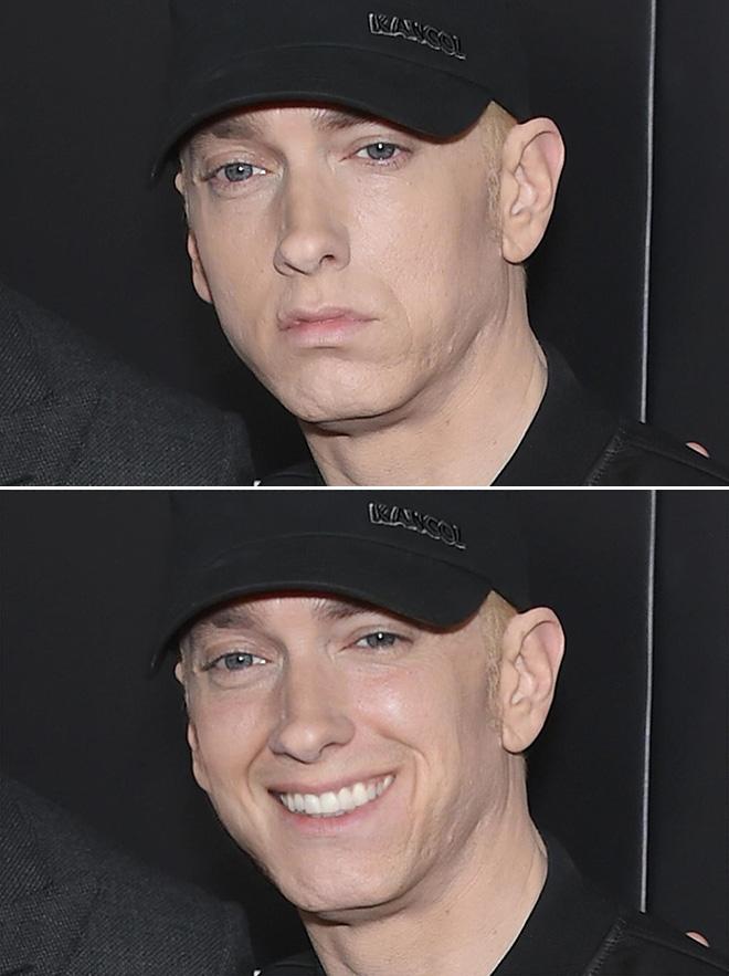 Mike Brown photoshopea las fotos de Eminem para que parezca que sonríe