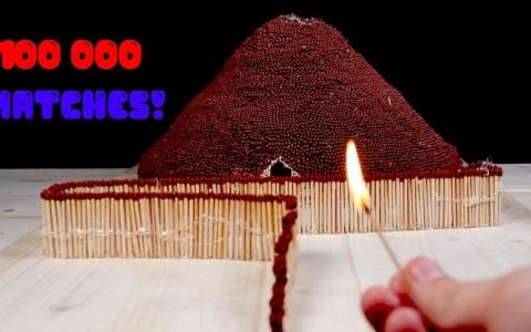 Un volcán fabricado a partir de 100.000 cerillas