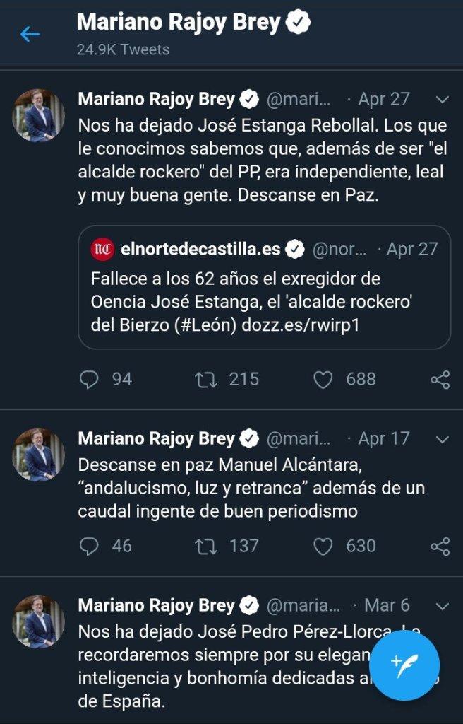 El perfil de tuiter de Mariano se ha convertido en una necrológica