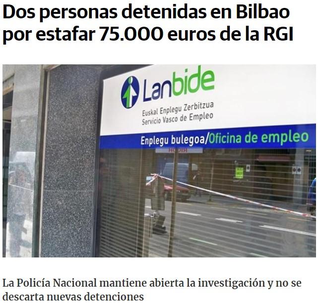 Se calcula que desde 2012 se han cobrado indebidamente 86 millones en RGI en Euskadi