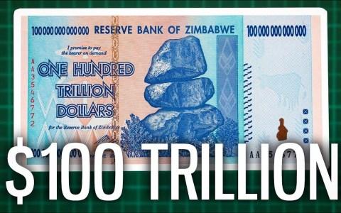 El billete de 100 trillones de dólares zimbabuenses