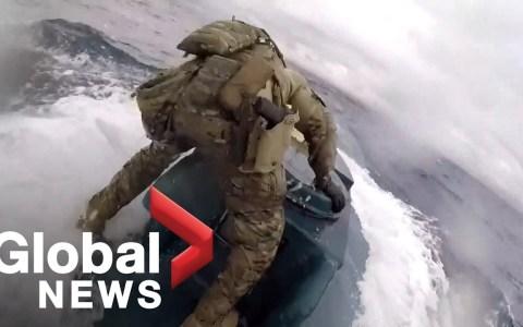Espectacular abordaje de la Guardia Costera de EE UU a un minisubmarino cargado con 8 toneladas de coca