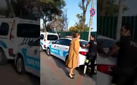 Esta señora turca atiende sosegadamente a los agentes que la están multando por conducir sin carnet