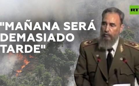 Fidel Castro advirtiendo del desastre ecológico de Brasil en 1992