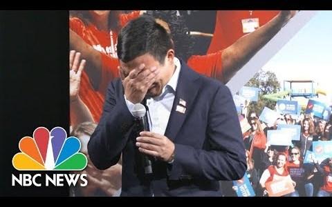 Candidato a la presidencia de EEUU en 2020 se derrumba después de que una madre cuente que su hija murió por una bala perdida
