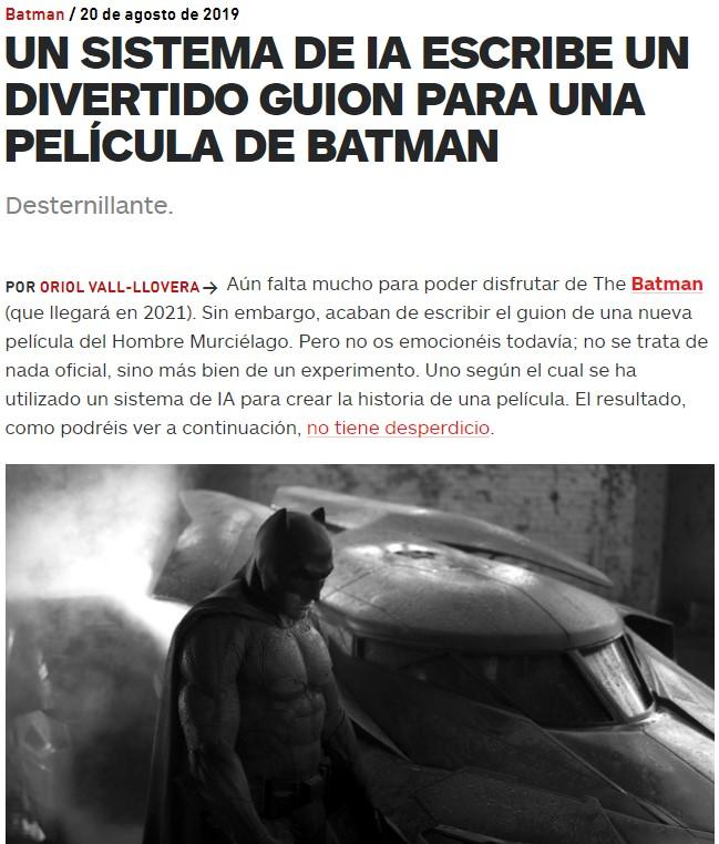 Han forzado a una IA para que escriba el guión de una nueva peli de Batman, y el resultado es un guión trolaso donde los haya