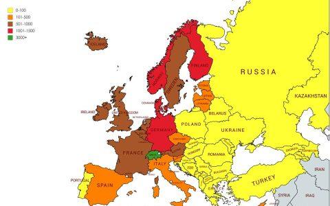 Mapa de lo que se puede ahorrar con el salario neto medio mensual en Europa (en dolares)