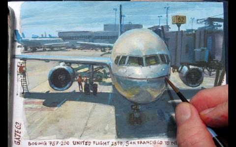Pintando al óleo el avión en el que embarcará en una hora