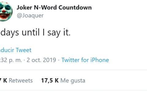 @Joaquer, la cuenta de Twitter creada única y exclusivamente para escribir el día 4 de Octubre la palabra que empieza por N