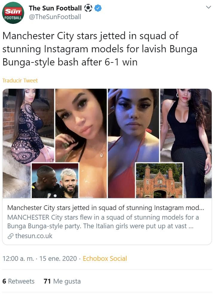 """Destapan una fiesta """"Bunga Bunga"""" de jugadores del Manchester City con 22 modelos italianas"""
