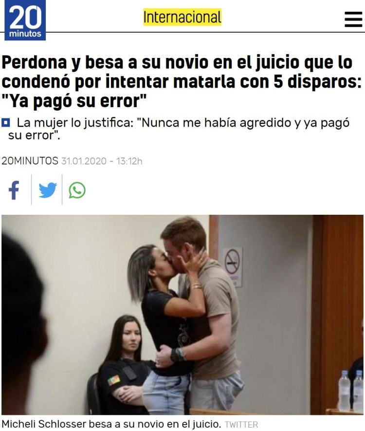 """Condenan a su novio a 7 años de cárcel por intentar matarla con 5 disparos, y le perdona en el juicio diciendo """"yo le provoqué"""""""