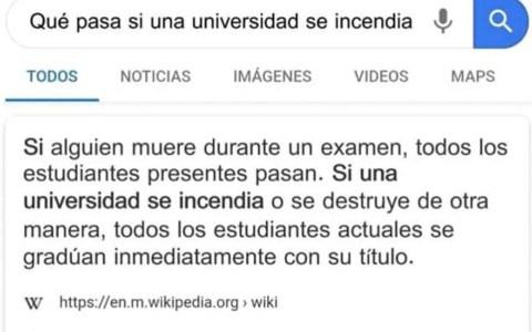 Se está compartiendo mucho por redes esta imagen de la Wikipedia, en la que se asegura que si la universidad se incendia, todos los alumnos están graduados automáticamente