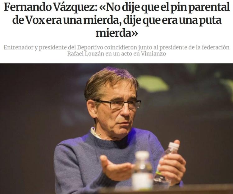 El entrenador del Deportivo matiza sus declaraciones sobre el pin parental.