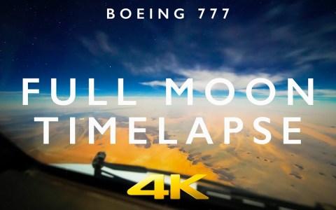 Timelapse de un vuelo nocturno de París a Buenos Aires con luna llena