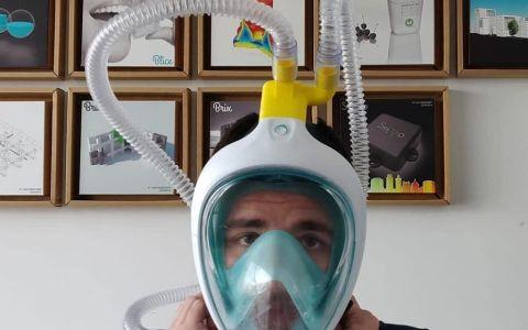 Un fínolier está intentando convertir máscaras de buceo en respiradores para complementar la falta de material