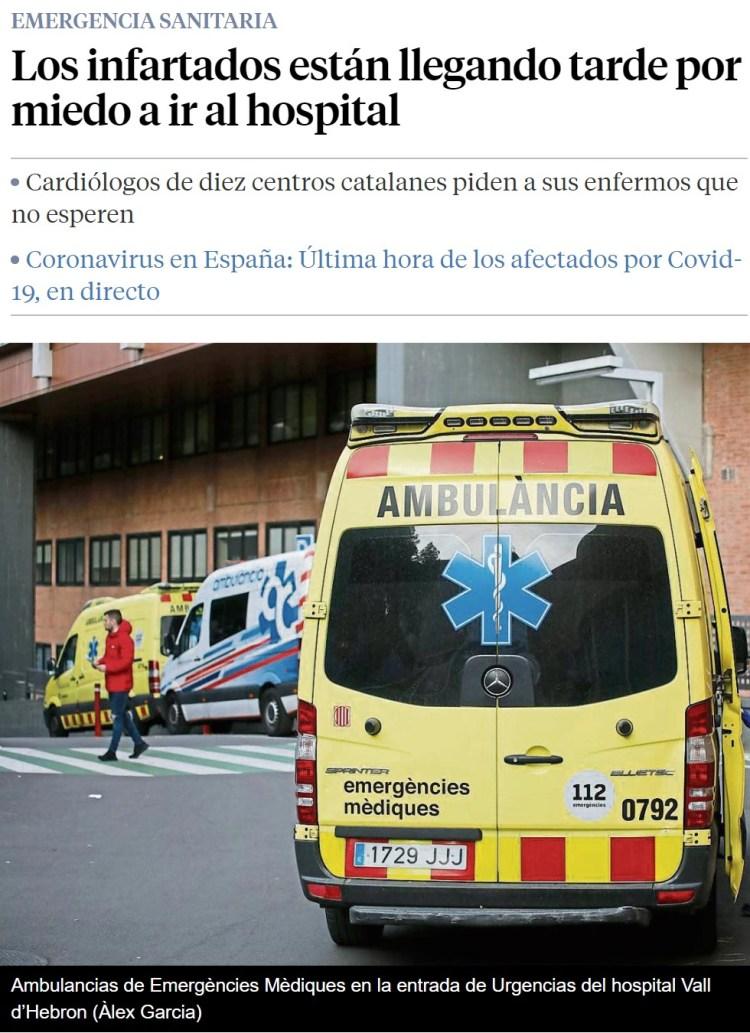 """Cardiólogos de 10 hospitales catalanes: """"¡La gente está pasando sus infartos en casa por miedo al coronavirus!"""""""