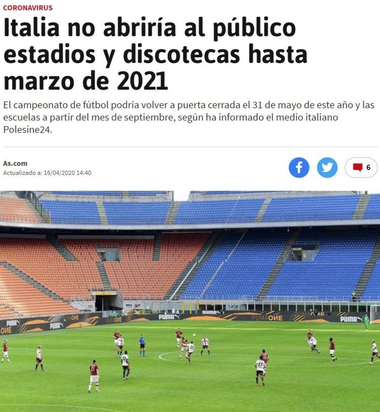 Teniendo en cuenta que estamos haciendo casi paso por paso lo mismo que hace Italia, pero con una o dos semanas de retraso...
