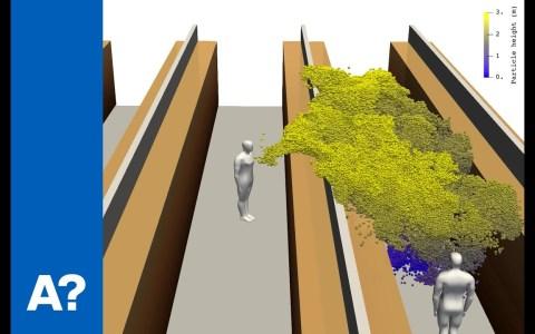 Simulación 3D de la propagación de partículas tras toser en un supermercado