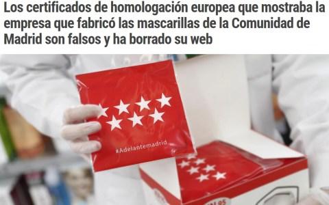 Los certificados de las mascarillas que entrega la Comunidad de Madrid son falsos