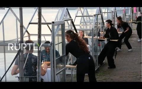 """Un restaurante de Amsterdam crea unos """"mini invernaderos"""" para que sus clientes se sientan seguros ante el virus"""