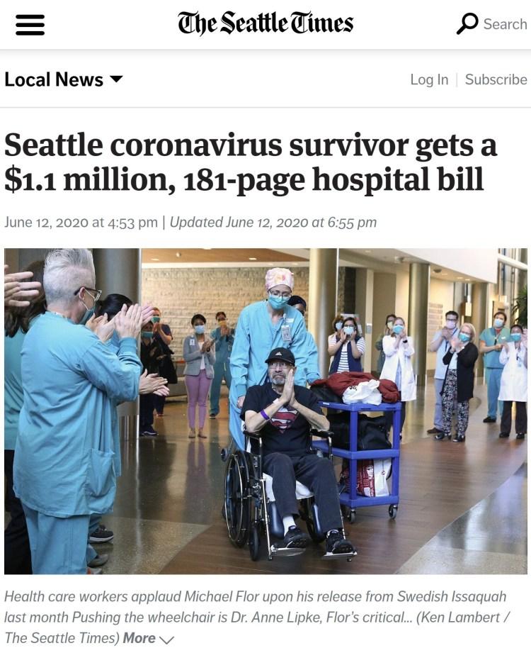 Un superviviente al virus recibe una factura del hospital por valor de 1.1 millones de dólares