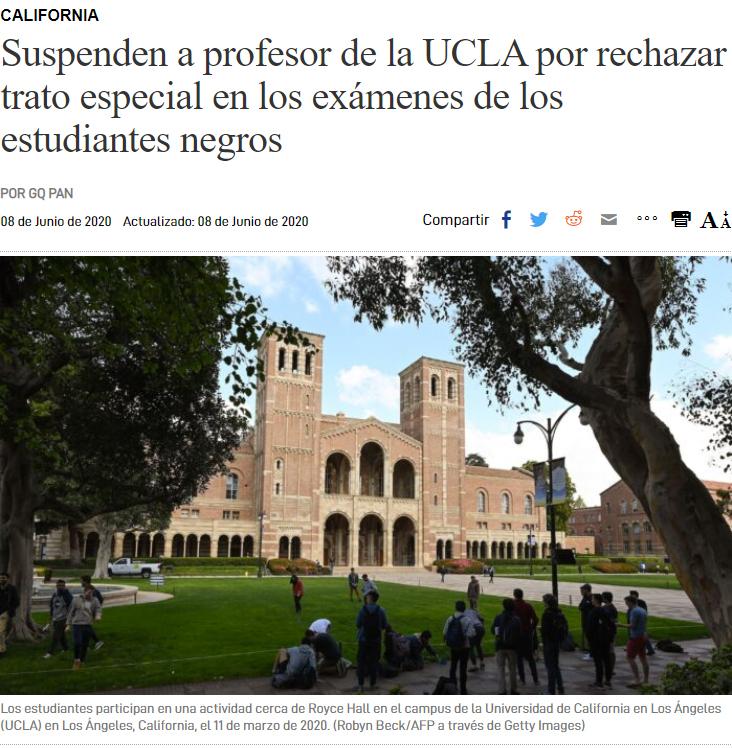 Profesor suspendido en la universidad de UCLA por querer tratar a todos sus alumnos por igual
