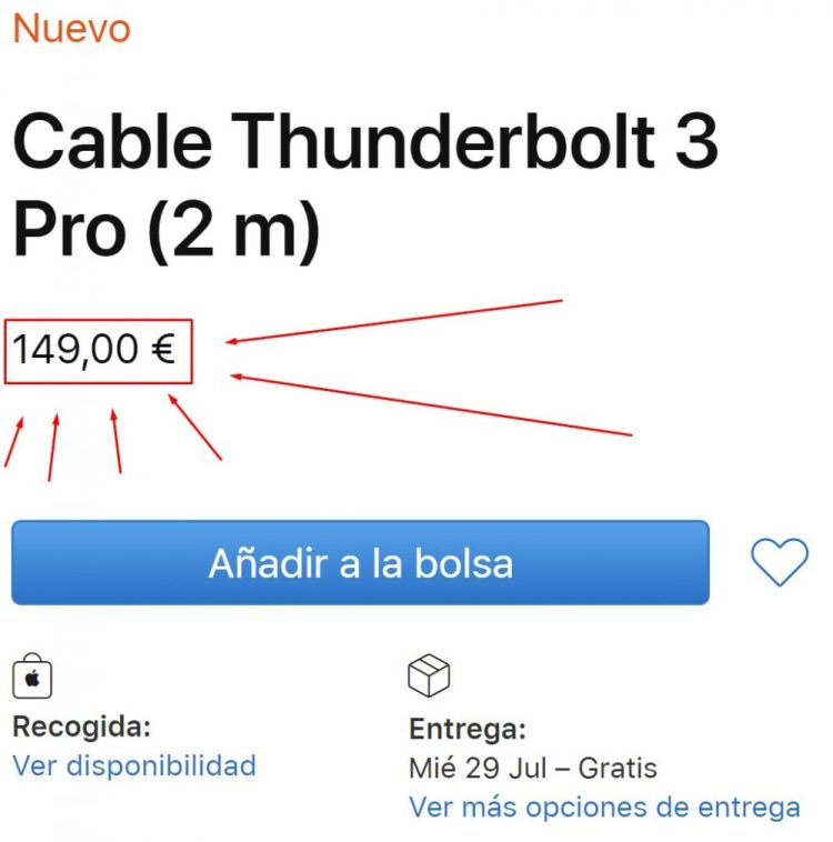 Apple vende un cable Thunderbolt de 2 metros por 149 euros