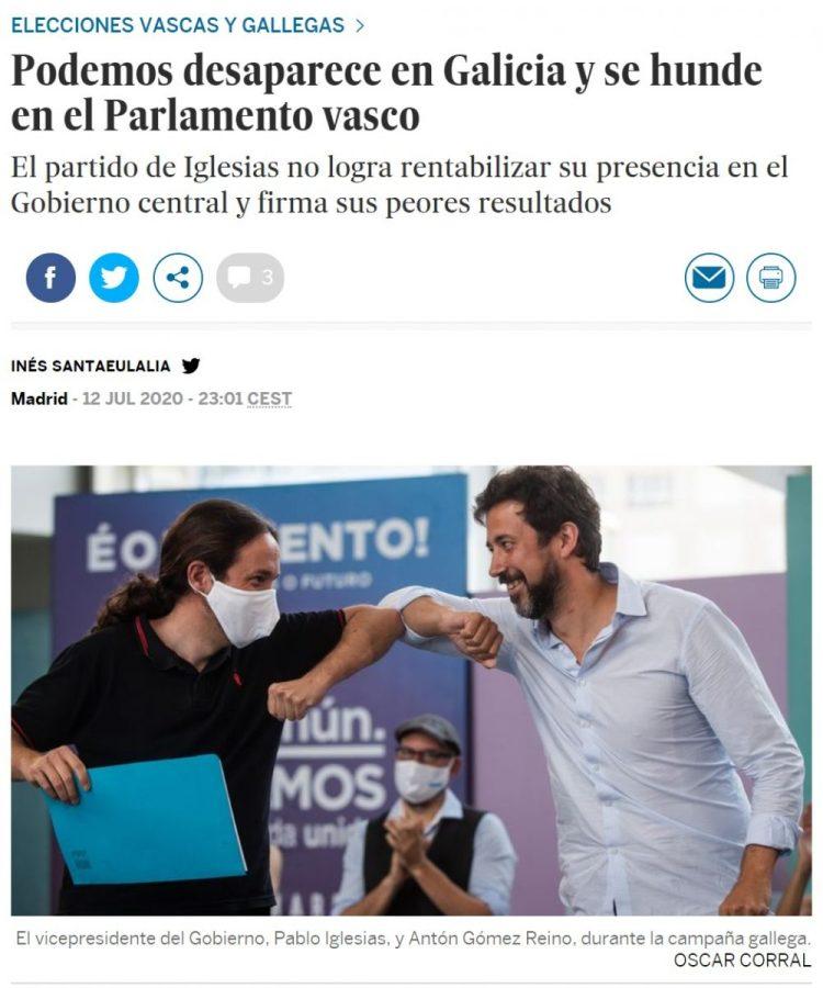 Podemos se esfuma en Galicia y saca menos de la mitad de votos en Euskadi