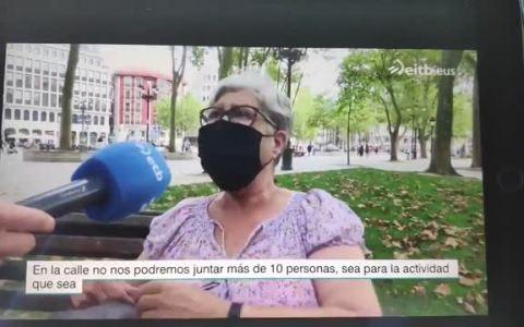 Anoche en las noticias de la ETB (País Vasco) sobre la prohibición de reunirte con grupos de 10 personas.