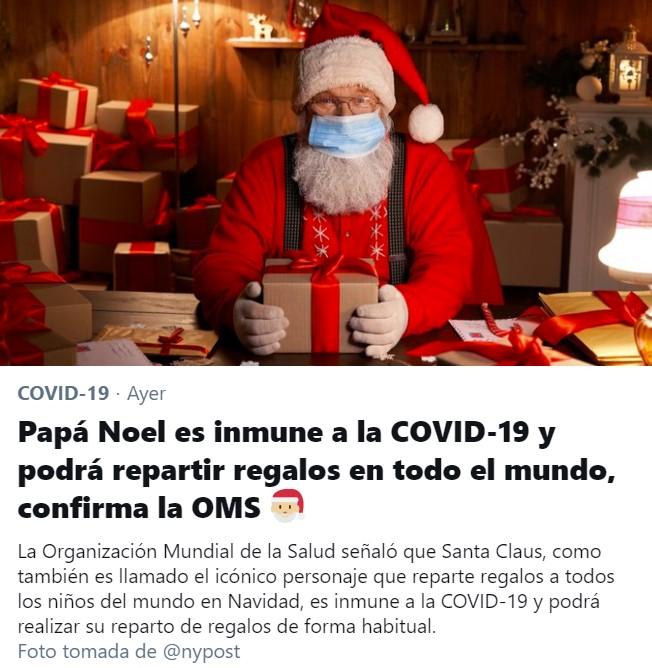 Papá Noel es inmune al virus.