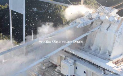 Momento del colapso del telescopio Arecibo
