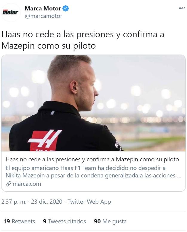 Haas confirma a su piloto pese a que cometió el terrible error de tocarle el pecho a una amiga con su consentimiento en 2020