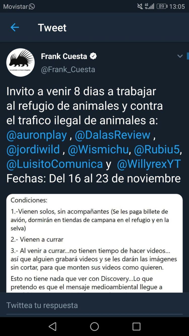 Frank Cuesta invitó a varios Youtubers con millones de seguidores a que vivieran de cerca cómo es trabajar en un refugio contra el tráfico de animales: IBAI ACEPTA EL RETO