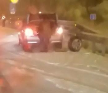 Parece que alguien de Lepe fue a pasar unos días a Madrid y le pilló la nevada...