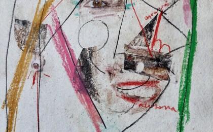 Cabeza  (Probas de trasferencia)/    Mixta sobre papel/    49×34 cm/   2014