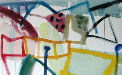 Paisaxe con igrexa e autoestrada / Acuarela sobre papel / 51×66 cm / 2007