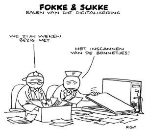 Fokke & Sukke zijn de boekhouding aan het digitaliseren. Ze scannen de bonnetjes in.