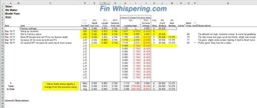 waterski slalom binding wing fin setup adjustment setting tuning log spreadsheet