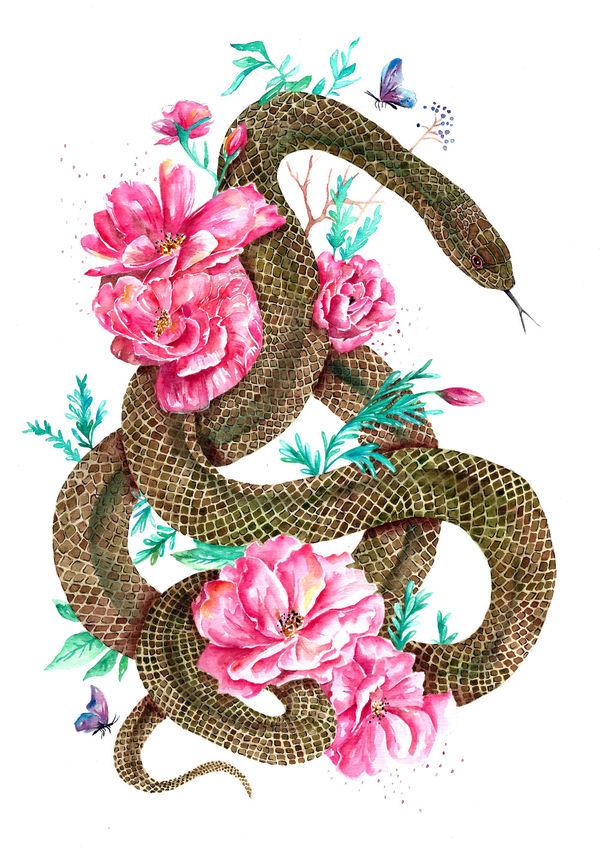 Floral Snake  originals  fionaclarkecom
