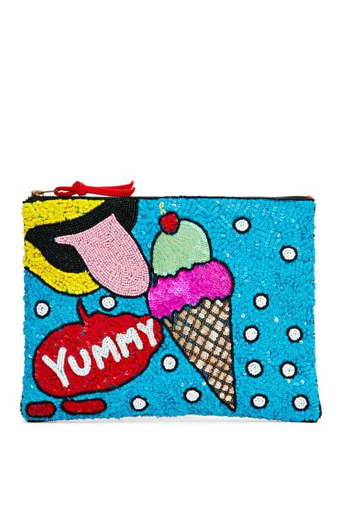 "Pochette ""So Yummy"" brodée perles et sequins, Nasty Gal, 61€"