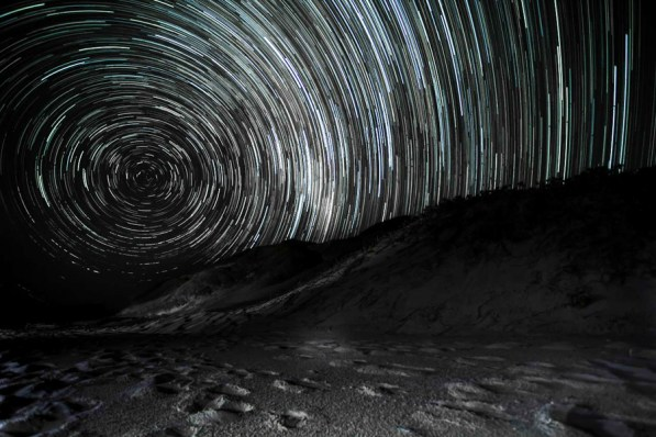 Star trails from the beach. Credit: James Dobson