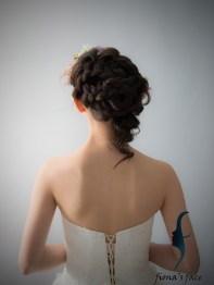 不對稱側髮造型 以粉色桔梗和小花配襯~ 適合中等長度頭髮及愛層次的新娘子 Irregular braid stye for medium length hair