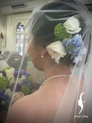 Classic & elegant hairdo with Jennifer's favorite fresh flowers as headpieces~!