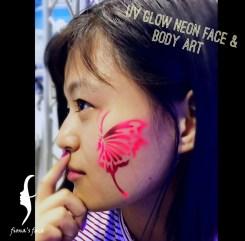 UV Grow temporary tattoo HK by fiona's face