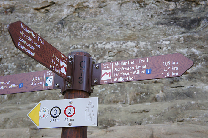 Mullerthal waterfall signpost